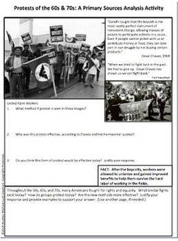 Protest Movements of the 1960s and 70s Primary Source