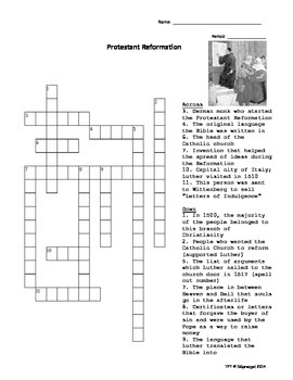 Protestant Reformation Crossword Puzzle with Key by
