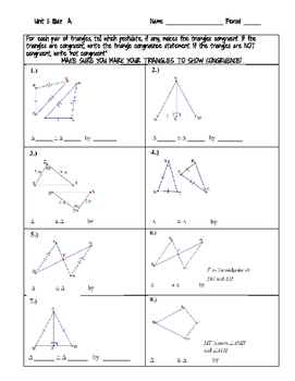 Proving Triangles Congruent Quiz Or Worksheet By The