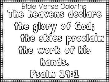 Psalms for Kids-Psalm 19:1 Bible Verse Tracing and
