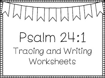 Psalms for Kids-Psalm 24:1 Bible Verse Tracing and