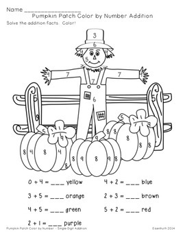 Pumpkin Patch Addition and Subtraction Color by Number by