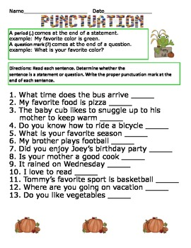 Punctuation Worksheet By The Green Kat