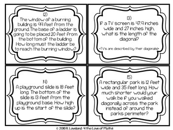 Pythagorean Theorem Word Problem Task Cards by 4 the Love