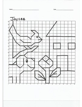 Quadrant 1 Coordinate Graph Mystery Picture, Jaycee Blue