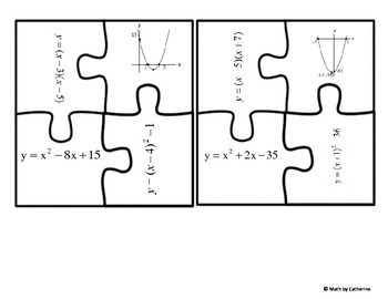 Quadratic Functions Matching Puzzle Activity by Math by