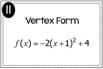 Quadratic Functions (Standard Form, Vertex Form, and
