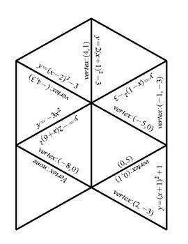 Quadratic Tarsia Puzzle (Math 20-1, Foundations 11, Pre