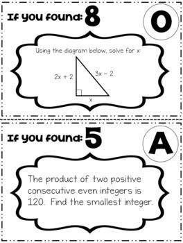 Quadratic Word Problems Scavenger Hunt by Math is