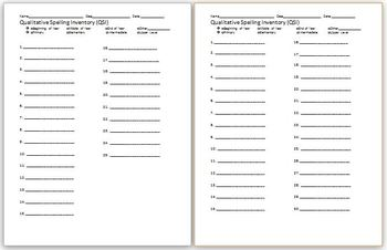 QSI Qualitative Spelling Inventory Student Sheet by Kelsey