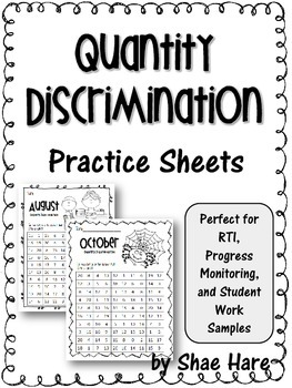 Quantity Discrimination Practice Work Sample {RTI Progress