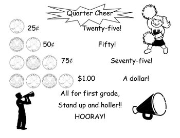 Quarter Cheer Poster and Worksheet (Math, Money) by