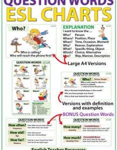 Question words in english esl wall chart flash cards also by woodward rh teacherspayteachers