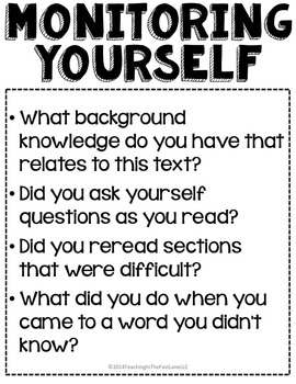 Questions to Ask About Reading Freebie by Teaching In the
