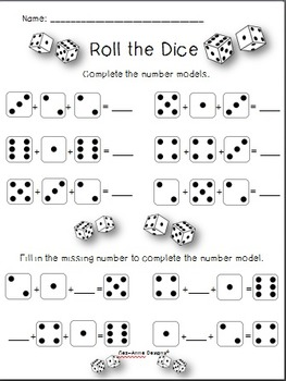Quick Prep! Roll the Dice Game ~ No Prep! Worksheets by