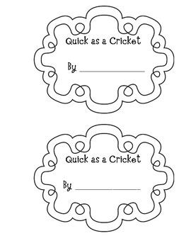 Quick as a Cricket Emergent Reader by Kristen's