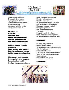 Un Beso Lyrics In English : lyrics, english, Quisiera, Spanish, Lyrics, Activities, Spark, Enthusiasm