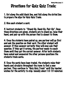 Quiz Quiz Trade: Wordly Wise 3000 Book 4-Lesson 11 by