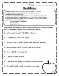 Quotation Mark Worksheet Quotation Practice Quotation ...