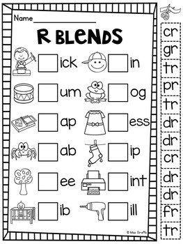 R Blends Worksheets and Activities No Prep Pack by Miss