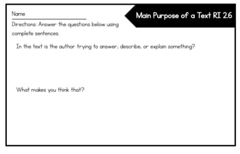 RI 2.6 Identify the Main Purpose of a Text Exit Slip