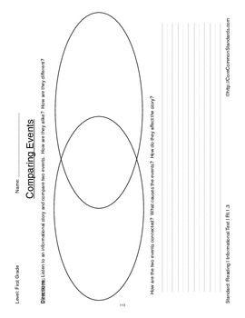 RI.1.3 First Grade Common Core Worksheets, Activity, and