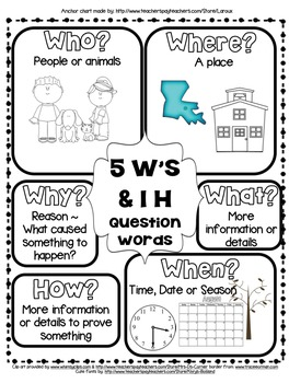 RL&RI.2.1 5Ws and H question words Anchor Chart Who, What