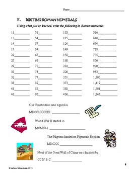 ROMAN NUMERALS Lessons, Worksheets, & Quizzes by Arlene