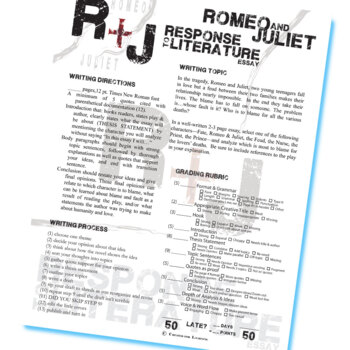 ROMEO AND JULIET Essay Prompts (Response to Literature) by