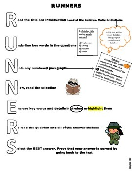 RUNNERS test taking strategy-coloring letters by Logical