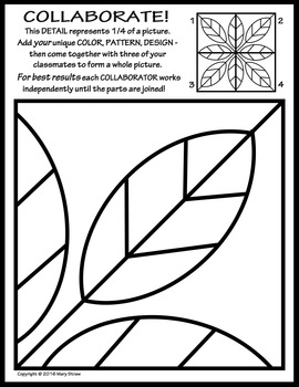 Radial Symmetry COLLABORATIVE Activity Coloring Pages by