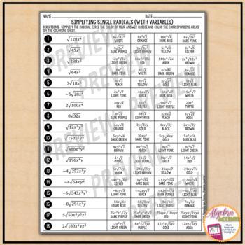 Marie De Los Reyes Algebra Accents Answer Key : marie, reyes, algebra, accents, answer, Simplifying, Radicals, Variables, Coloring, Activity, Algebra, Accents