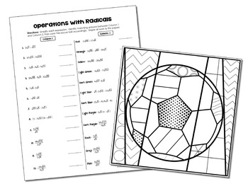 Radical Operations Coloring Activity by All Things Algebra
