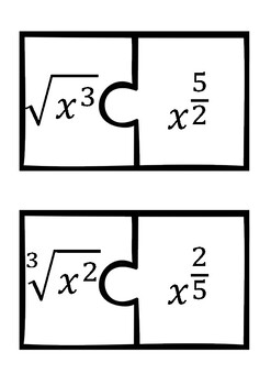 Radicals Rational exponents converting puzzle match