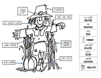 Radicals Review Scarecrow Coloring Sheet by Corinne