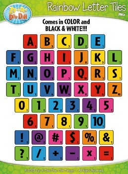 Rainbow Wood Alphabet Tiles Clipart Zip A Dee Doo Dah