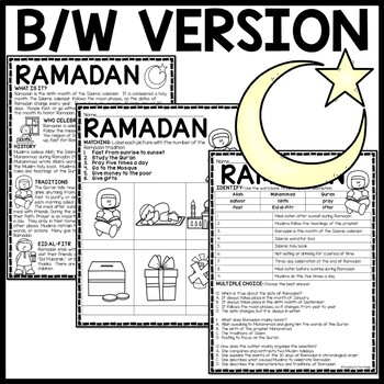 Ramadan Reading Comprehension Worksheet Islam by Teaching