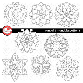 Rangoli Mandala Geometric Circle Pattern Clipart by