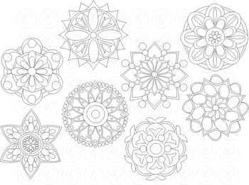 Rangoli Mandala Geometric Circle Pattern Clipart by