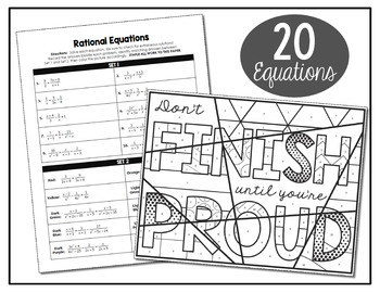 Rational Equations Coloring Activity by All Things Algebra