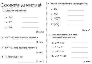 Rational Exponents Activity Worksheet Amp Assessment Bundle