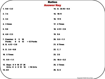 Equivalent Ratios Task Cards/ 5th 6th 7th Grade Ratio Word