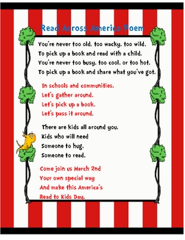 Read Across America Poem By Kindergarten Loves Me TpT