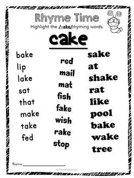Rhyming Worksheets Activities Dr Seuss Week Inspired