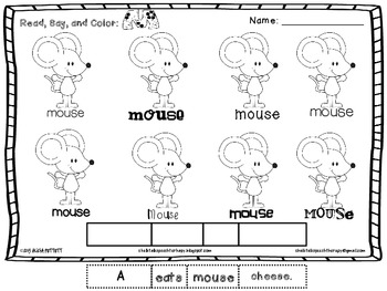 Read Say and Color Articulation Worksheets for Early 8