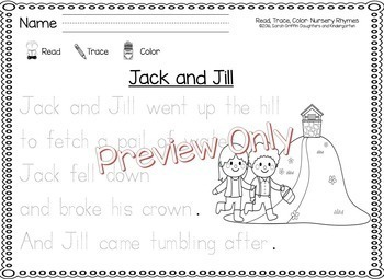 Read Trace Color ~ Nursery Rhyme Printables by Sarah