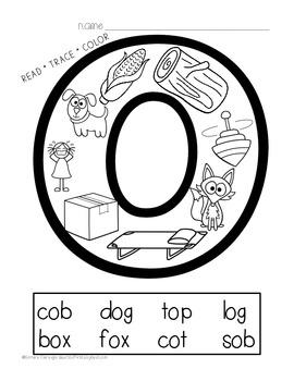 Phonics Printables- Read, Trace & Color Short Vowels