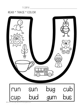 Phonics Printables- Read, Trace & Color Short Vowels