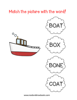 Read and Draw Single Word Vocabulary Printable: BOAT by