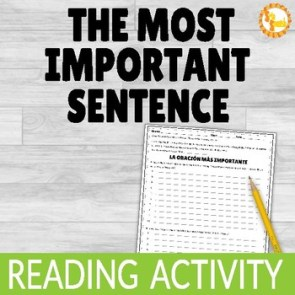 Reading Comprehension Activity The Most Important Sentence
